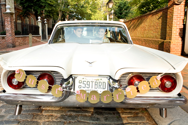 The father of the bride brought his awesome old classic car for the couples get away.