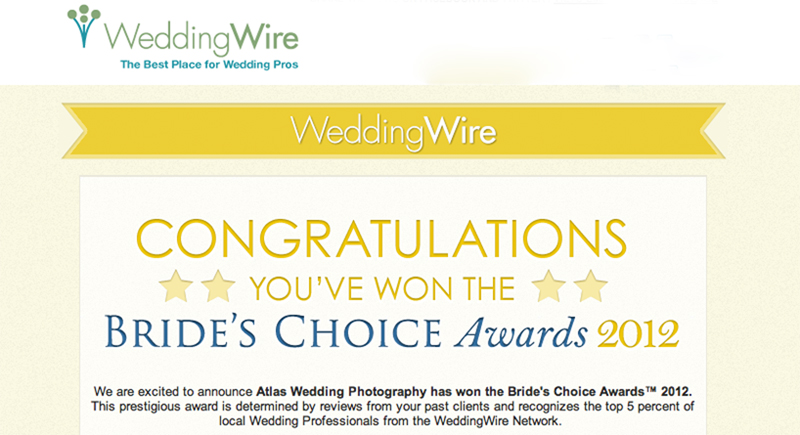 "Yeah!  Thank you to all for your awesome reviews that helped me win top photographer for 3 years in a row!  Awards for 2010 & 2011 from the ""Best of the Knot"" and 2012 from ""Bride's Choice Award"""